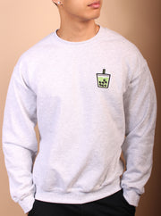 Green Tea Boba Embroidered Unisex Crewneck Sweater - Heather Gray