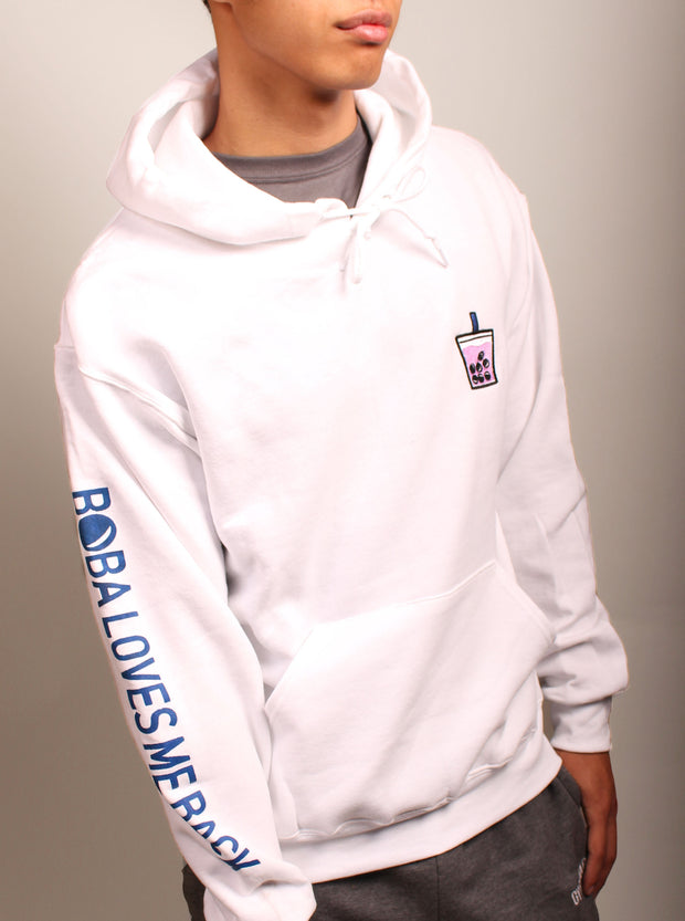 Lychee Boba Embroidered Unisex Hoodie - White