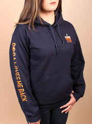 Thai Tea Boba Embroidered Unisex Hoodie - Navy
