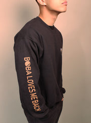 Milk Tea Boba Embroidered Unisex Crewneck Sweater - Black
