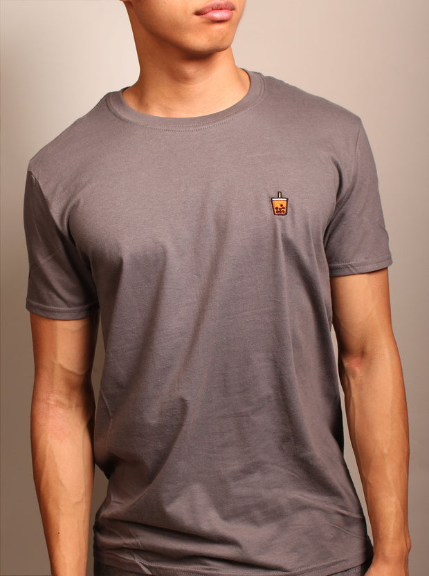 Thai Tea Boba Embroidered Unisex T-Shirt - Charcoal