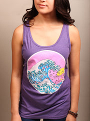 Cherry Blossom Wave Unisex Tank Top - Purple