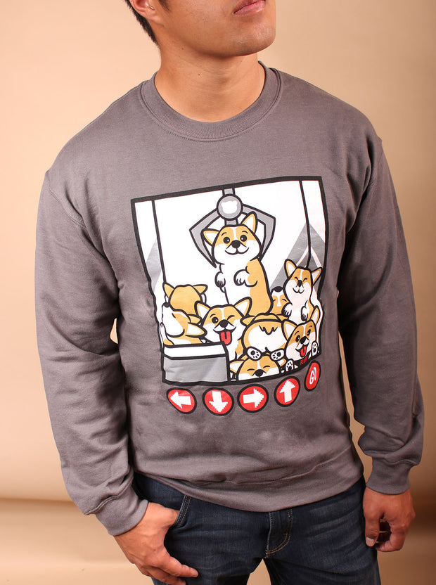 Claw Machine Corgi Unisex Crewneck Sweater - Gray