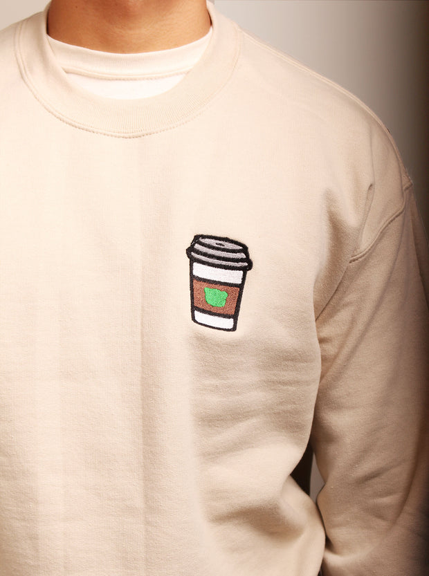 Coffee Embroidered Unisex Crewneck Sweater - Sand