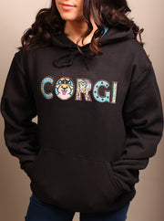 CORGI Life Applique Embroidered Unisex Hoodie - Black