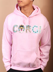 CORGI Life Applique Embroidered Unisex Hoodie - Pink
