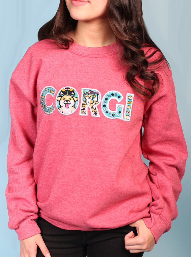 Corgi Life - Applique Embroidered Unisex Crewneck Sweatshirt - Heather Slate Red