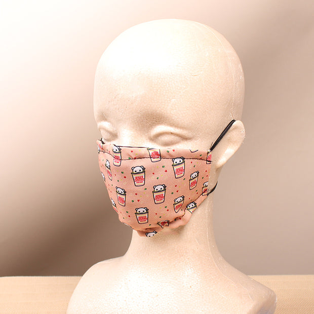 Cute Noodles -  2 Layer Face Mask with Filter Pocket Washable, Reusable, Breathable. Free Filter