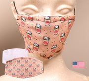 Cute Noodles -  2 Layer Face Mask with Filter Pocket Washable, Reusable, Breathable. Free Filter Free Sticker.