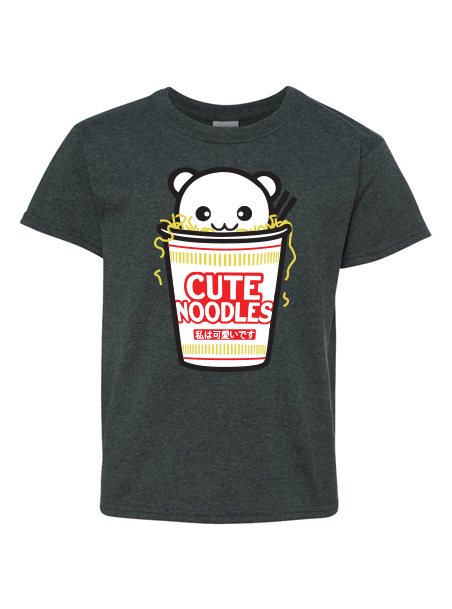 Cute Noodles Kids T-Shirt - Charcoal