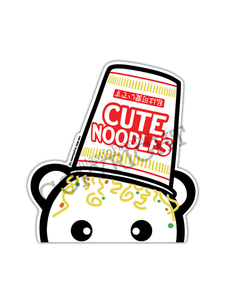 Cute Noodles Peeking Vinyl Sticker