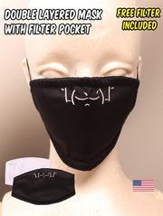 IDK IDC Emoticon Embroidered Black Face Mask