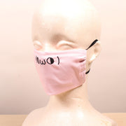 Dumb Kawaii Emoticon Embroidered  Pink Face Mask