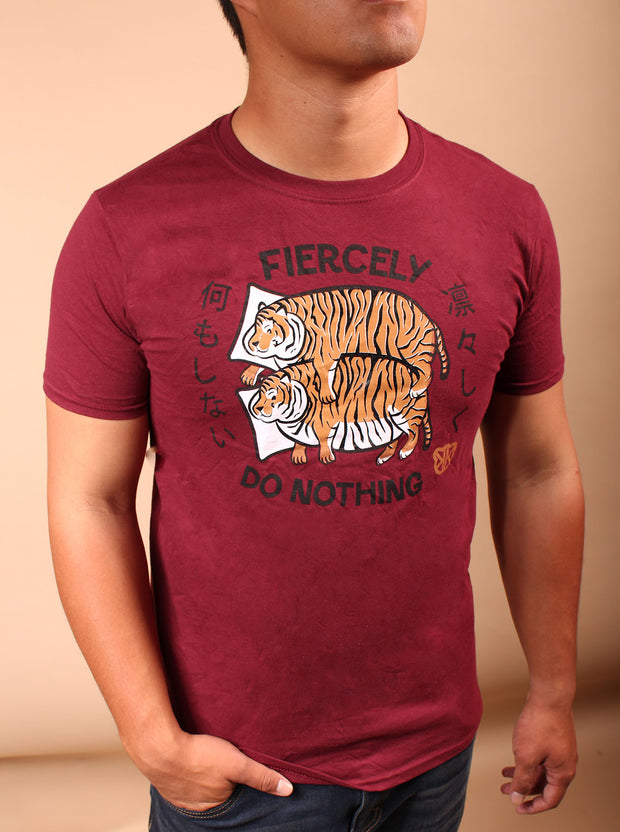 Fiercely Do Nothing Tigers Tshirt - Red