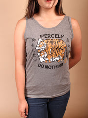 Fiercely Do Nothing Tigers Tank Top - Gray