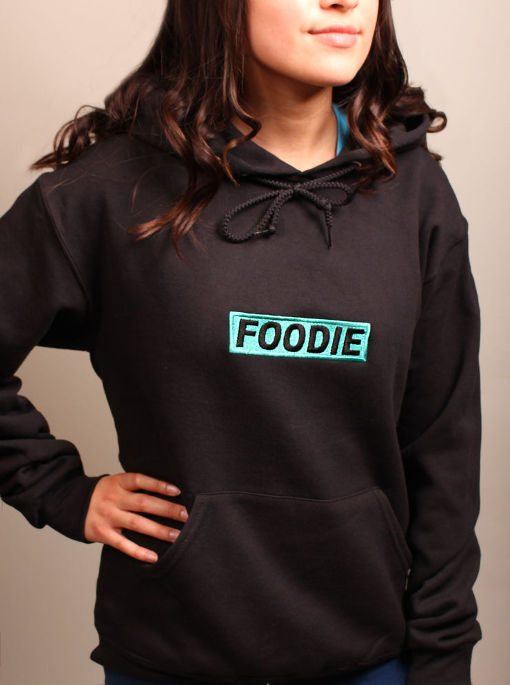 Foodie Teal Embroidered Unisex Hoodie - Black