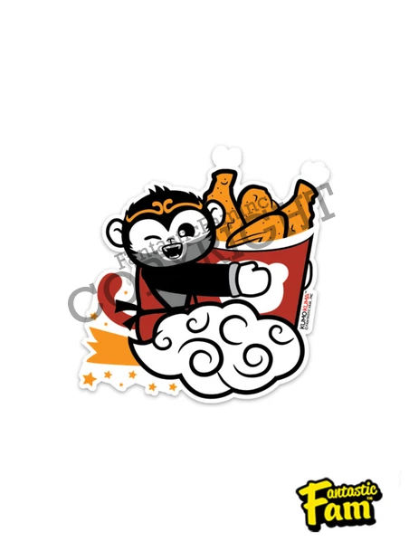 Fried Chicken Monkey Vinyl Sticker