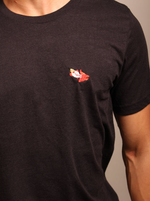 Butterfly Goldfish Embroidered Unisex Tshirt - Black Heather