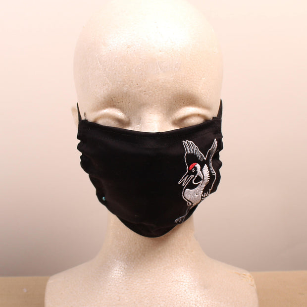 The Great Crane Embroidered Black Double Layered Face Mask
