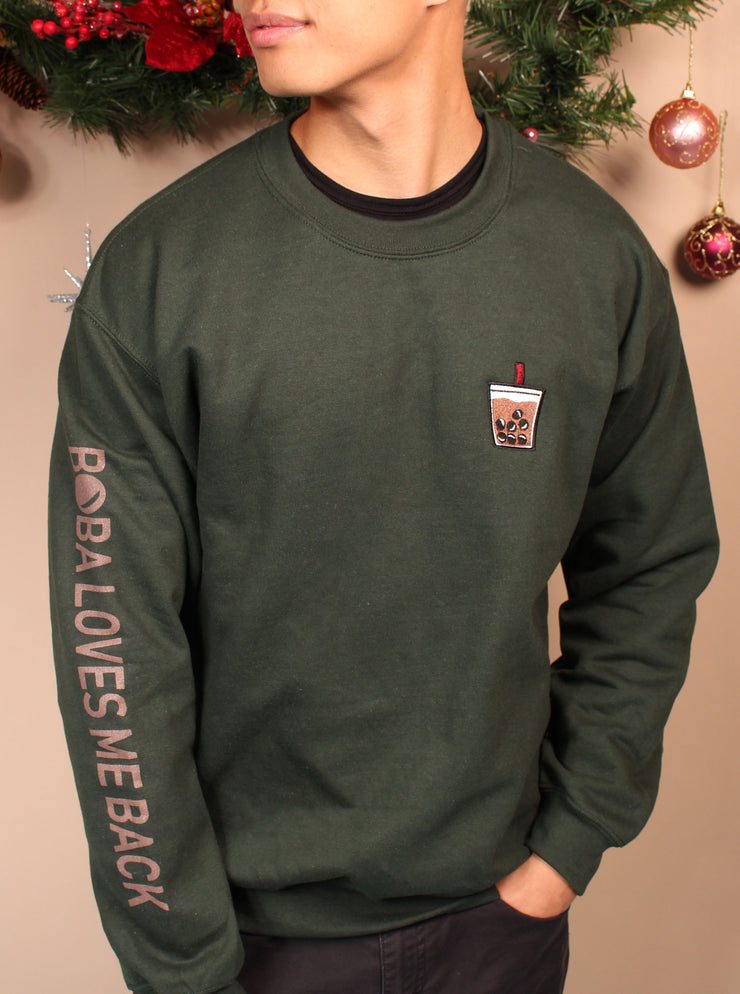 Holiday Peppermint Chocolate Boba Embroidered Unisex Crewneck Sweater - Green