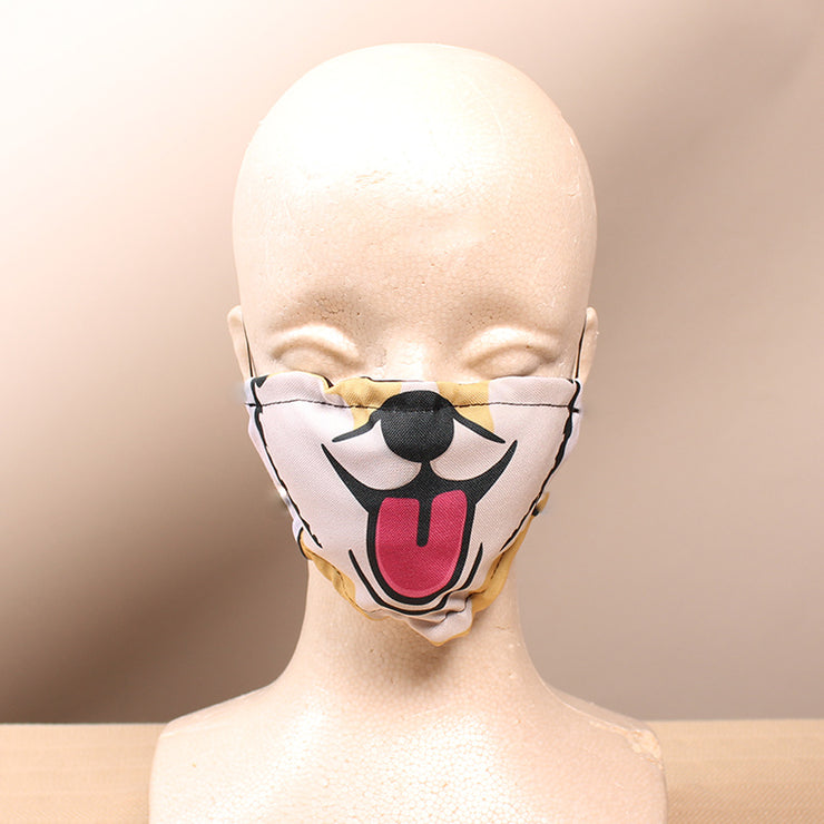 Happy Corgi - Tan 2 Layer Face Mask with Filter Pocket Washable, Reusable, Breathable. Free Filter Free Sticker.