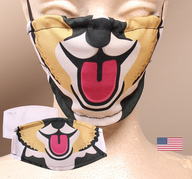 Happy Corgi - Brown 2 Layer Face Mask with Filter Pocket Washable, Reusable, Breathable. Free Filter