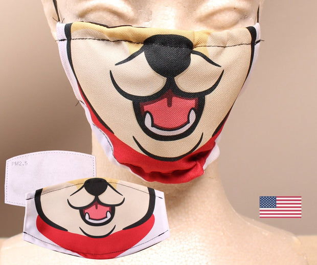 Red Shiba Inu -  2 Layer Face Mask with Filter Pocket Washable, Reusable, Breathable. Free Filter