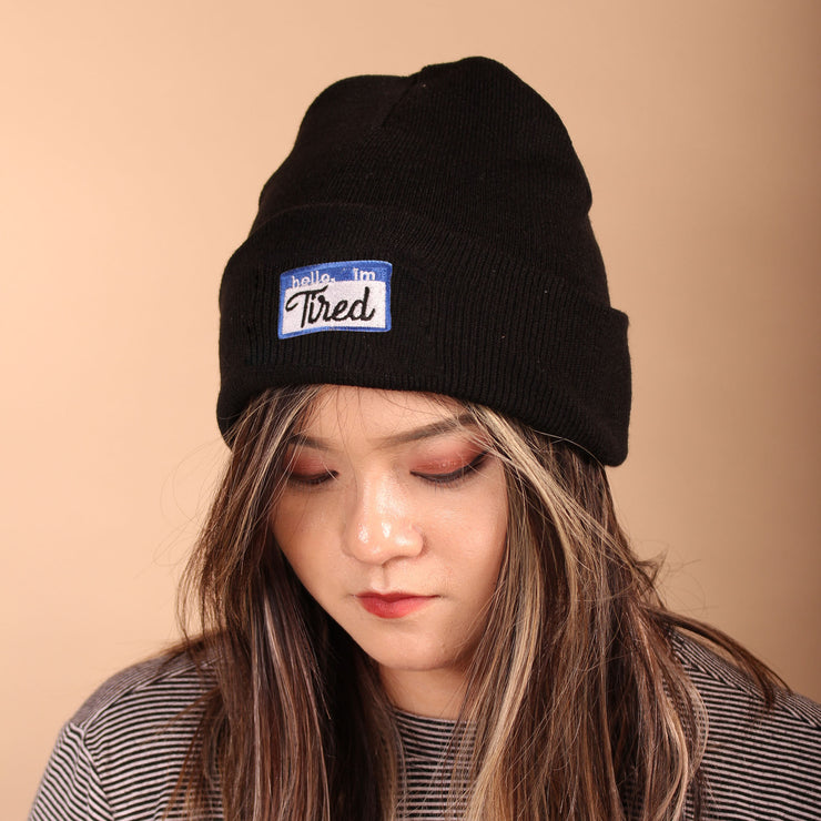 Hello, I'm Tired Beanie - Black