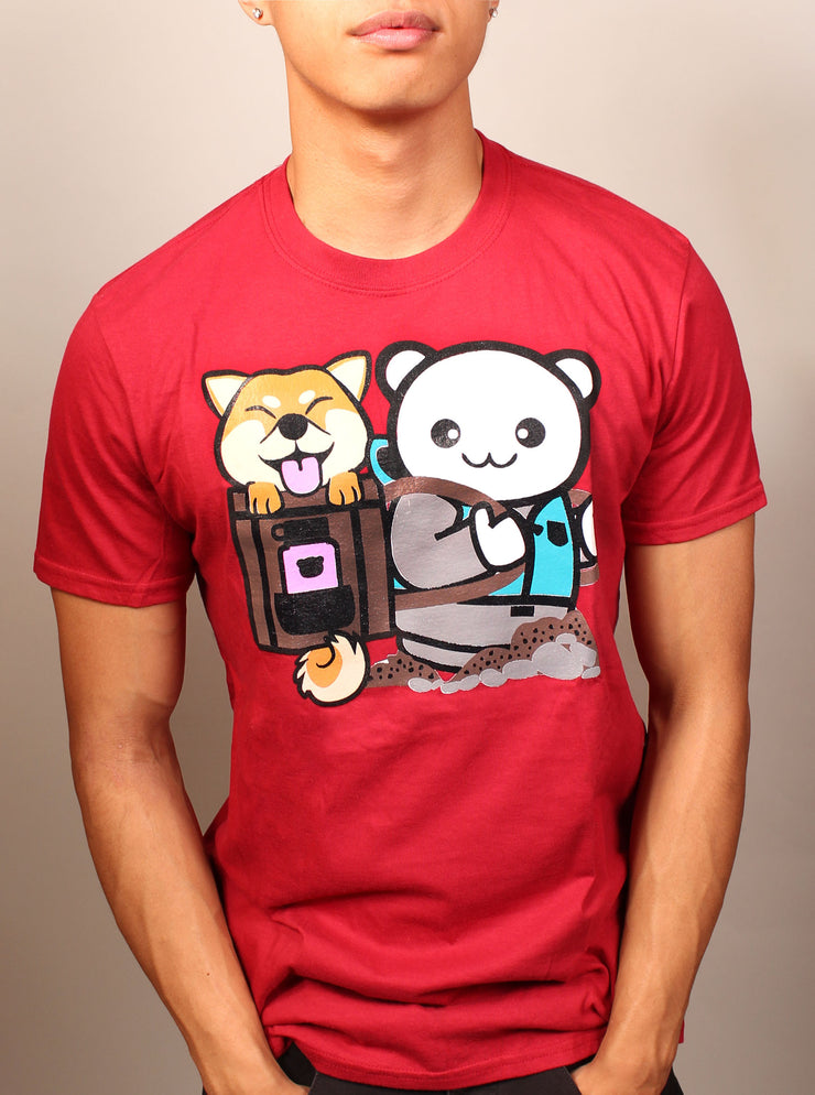 Hiking Shiba Unisex T-Shirt - Red
