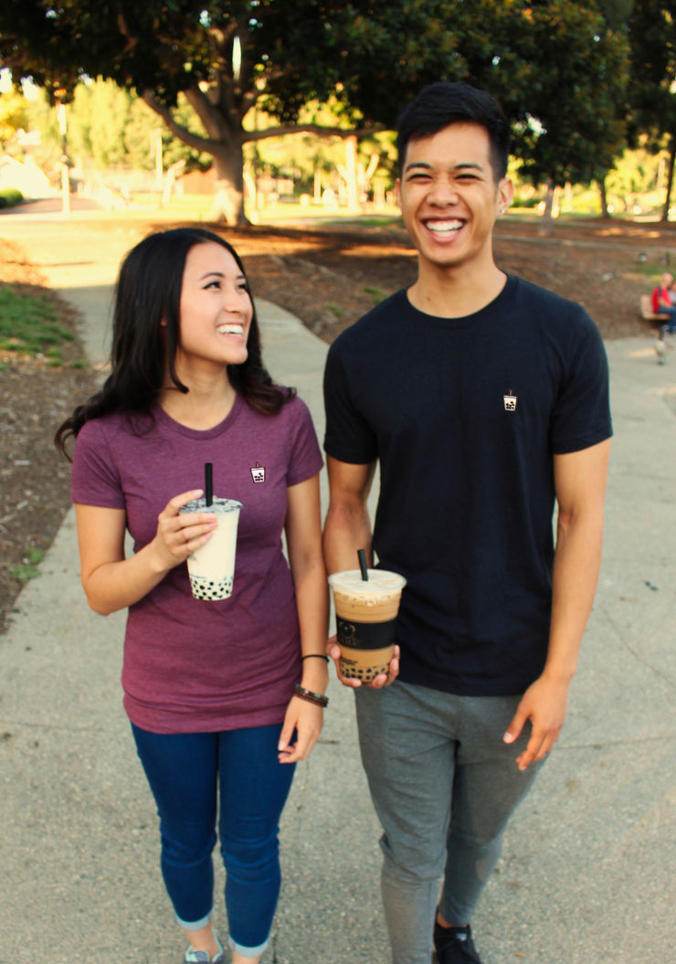 Boba Milk Tea Embroidered Unisex Tshirt - Black Heather