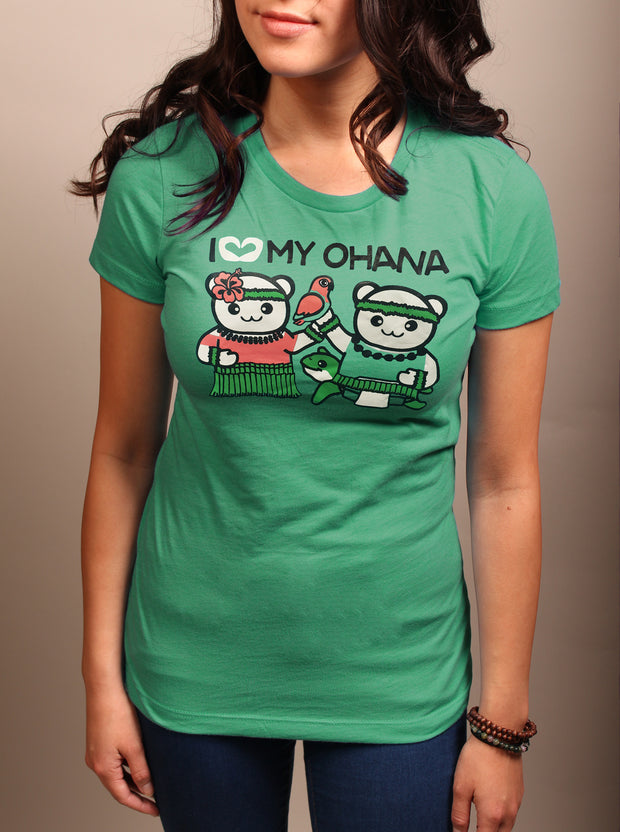I Love My Ohana Woman's T-Shirt - Ocean Teal