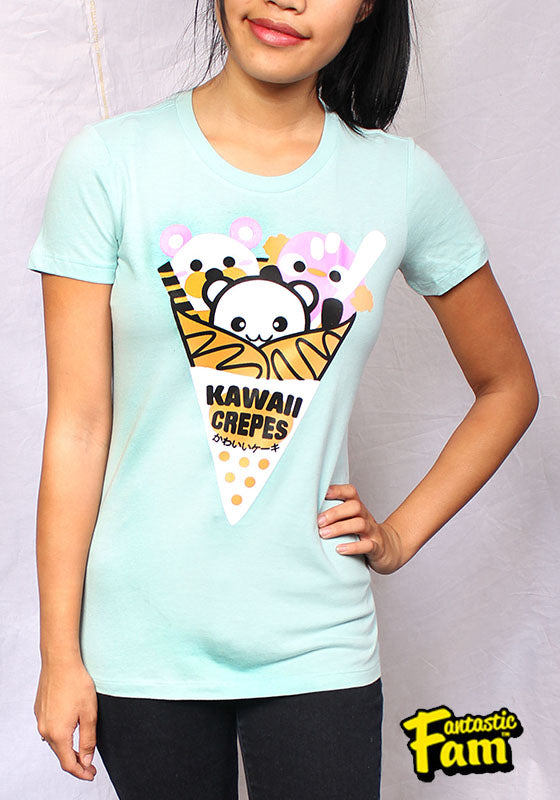 Kawaii Crepes Womans T-Shirt - Teal