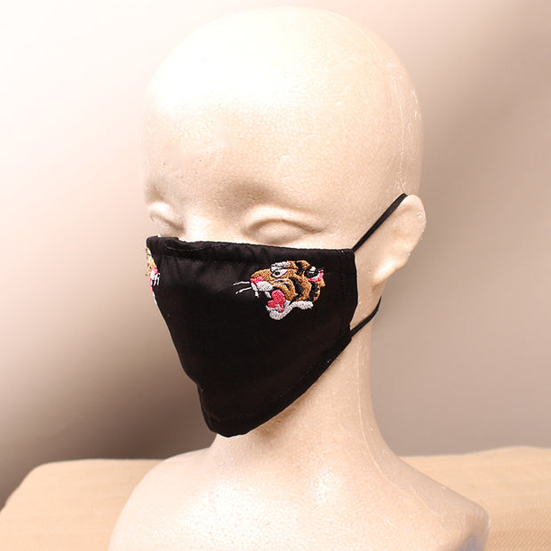 King of Tigers Embroidered Black Face Mask