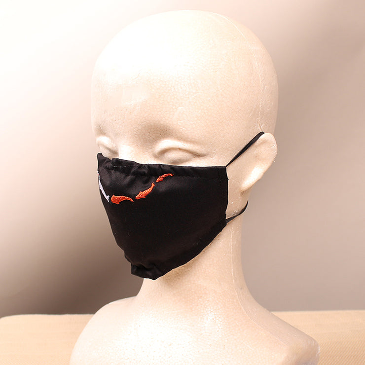 Koi Fish Embroidered Black Face Mask
