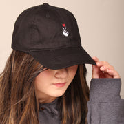 Korean Finger Heart Dad Cap - Black