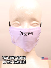 Lovely Kawaii Emoticon Embroidered Lavender Face Mask