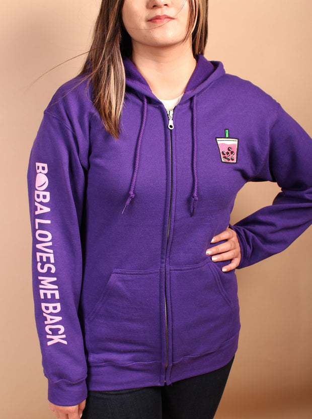 Lychee Boba Embroidered Unisex Zipper Hoodie - Purple