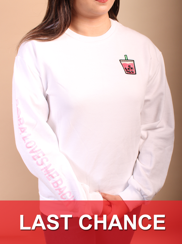 Lychee Boba Embroidered Unisex Crewneck Sweater - White