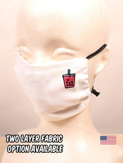 Lychee Boba Embroidered White Face Mask