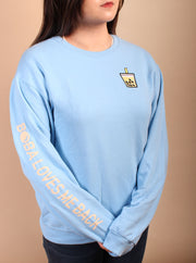 Mango Green Tea Boba Embroidered Unisex Crewneck Sweater - Blue