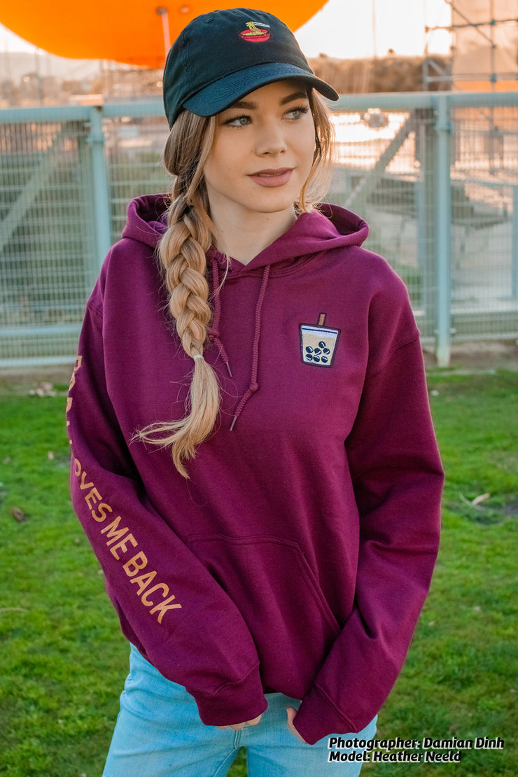 Milk Tea Boba Embroidered Unisex Hoodie - Maroon