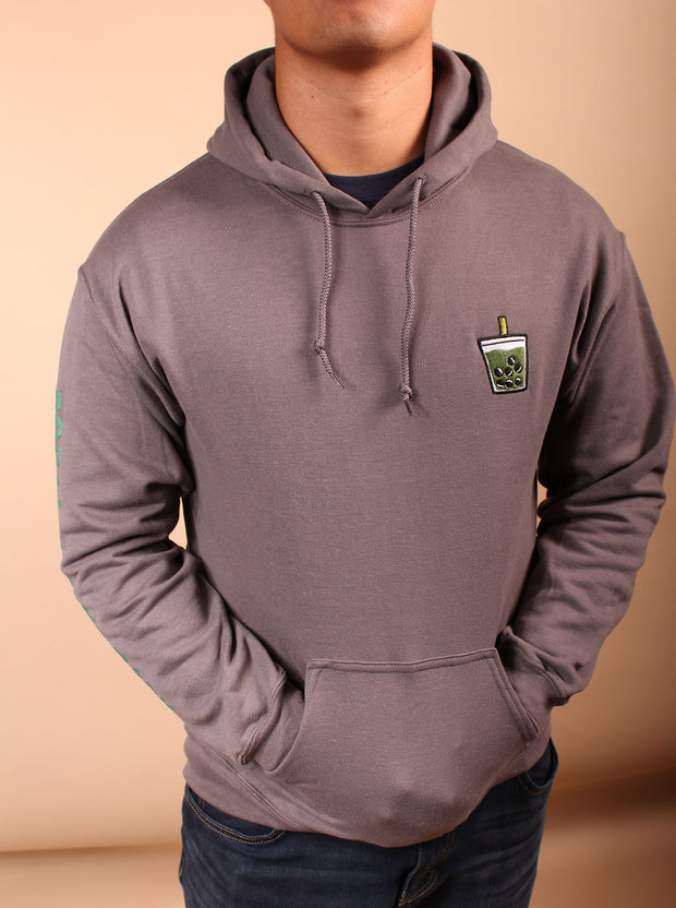 Matcha Boba Embroidered Unisex Hoodie - Charcoal Gray