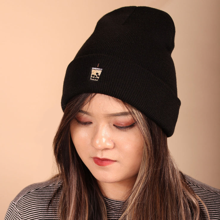 Milk Tea Boba Beanie - Black