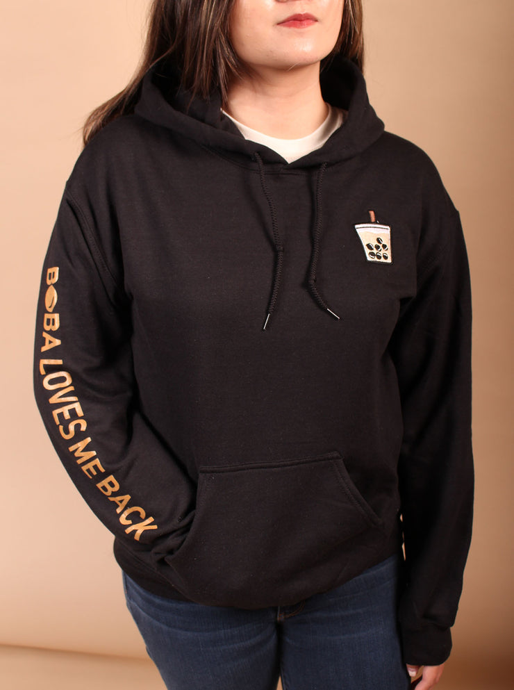Milk Tea Boba Embroidered Unisex Hoodie - Black