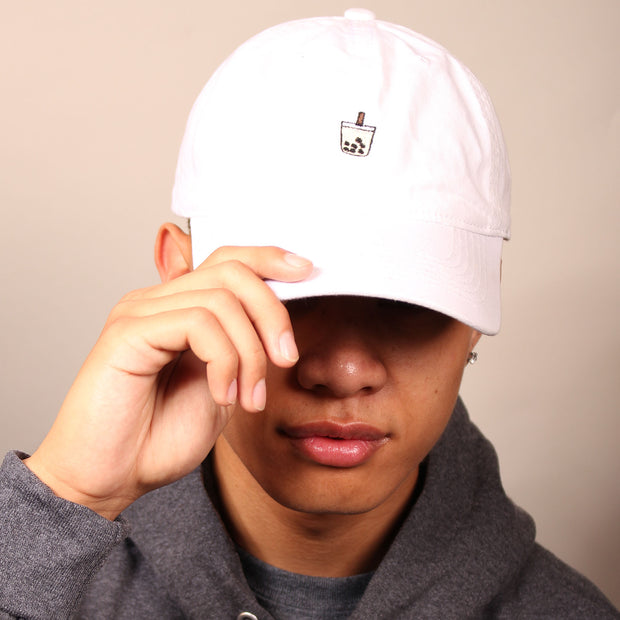 Milk Tea Boba Dad Cap - White