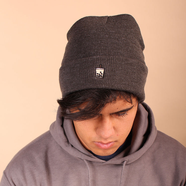 Milk Tea Boba Beanie - Charcoal