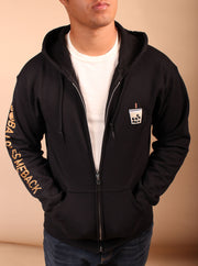 Milk Tea Boba Embroidered Unisex Zipper Hoodie - Black