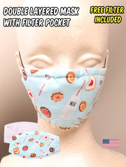 Milk and Cookies Pattern Face Mask