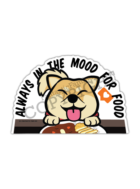 Always in the Mood for Food Shiba Peeking Vinyl Sticker