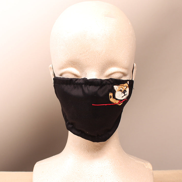 Not in the Mood Red Shiba Inu Embroidered Black Face Mask
